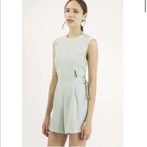 NWOT TOPSHOP mint cut out romper size 6